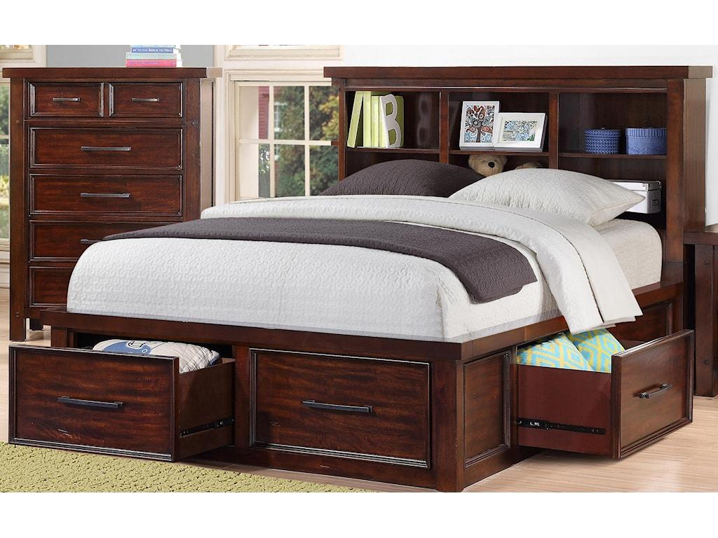 bookcase ne en kids highlands ip full bookcases in storage bed driftwood