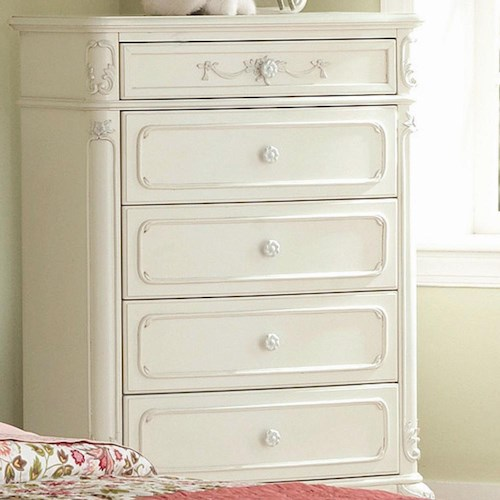 Homelegance (Clackamas Only) 1386 Victorian 5 Drawer Chest