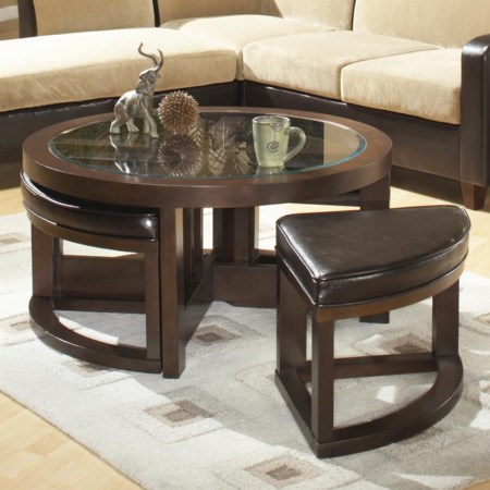 Round Cocktail Table with 4 Ottomans