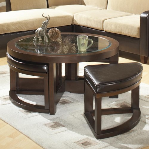 Homelegance (Clackamas Only) 3219 Round Cocktail Table with 4 Ottomans