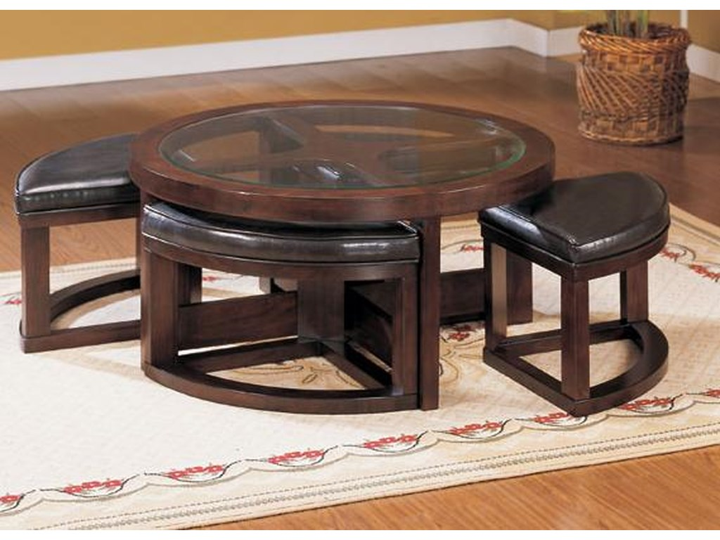 Homelegance 3219Round Cocktail Table with 4 Ottomans