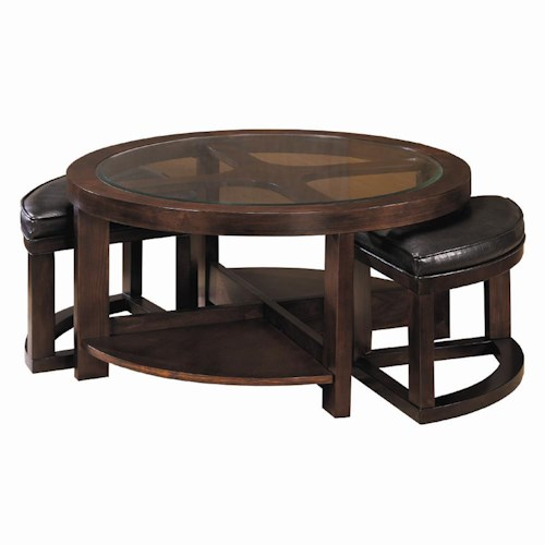 Homelegance 3219 Round Cocktail Table with 2 Ottomans