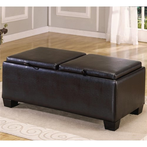 Homelegance 458-459 PVC Ottoman with 2 Storage/Covers