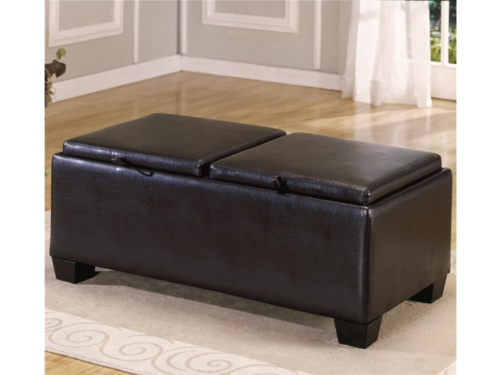 Homelegance 458-459PVC Ottoman with 2 Storage/Covers