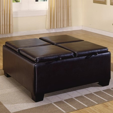 PVC Ottoman with 4 Storage/Covers