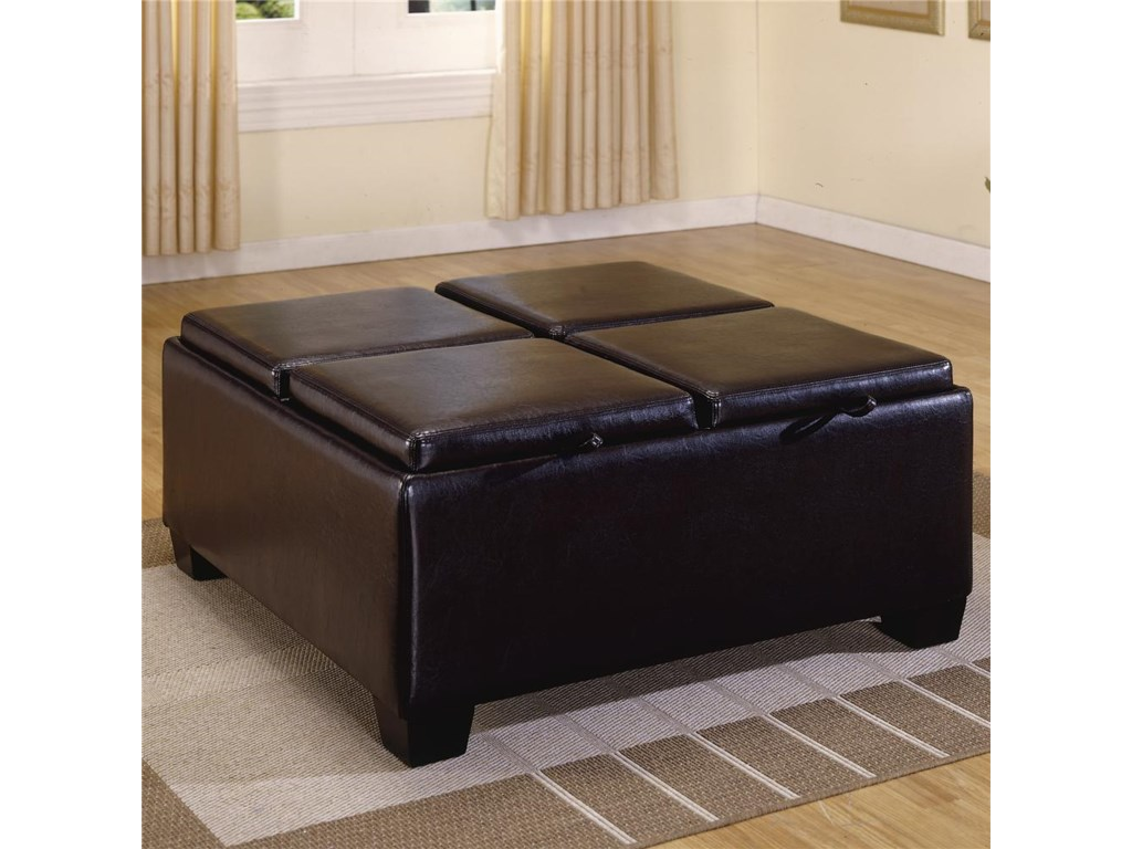 Homelegance 458-459PVC Ottoman with 4 Storage/Covers