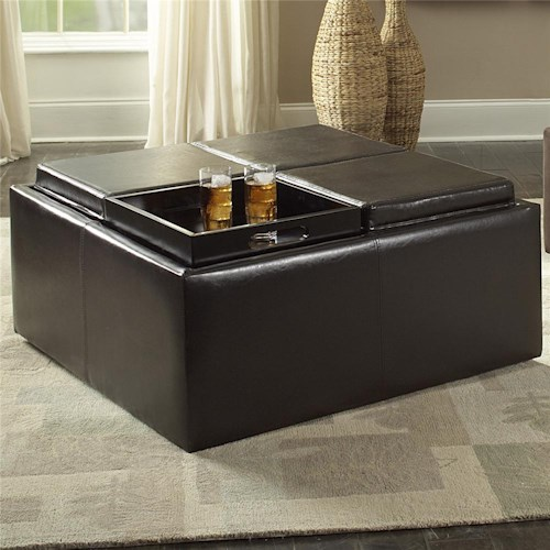 Homelegance 468 Cocktail Ottoman with Storage Covers