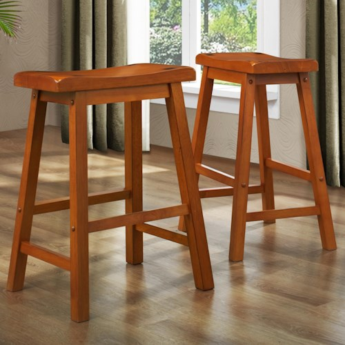 Homelegance 5302 24 Inch Stool with Curved Saddle Seat