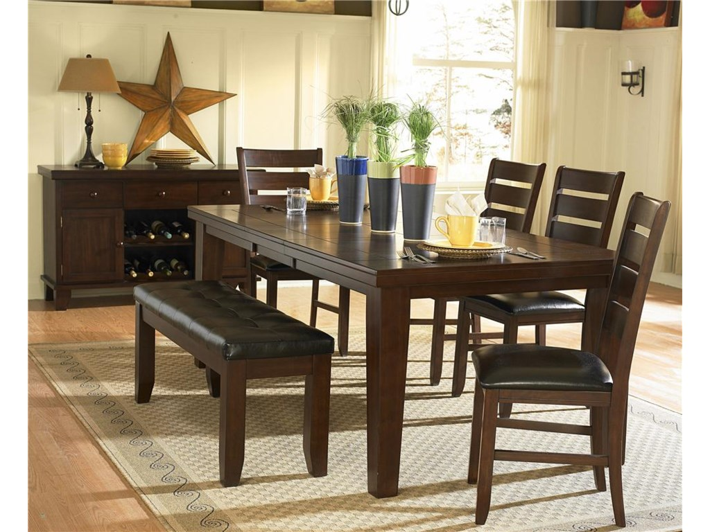 Shown in Dining Room with Dining Table and Ladder Back Side Chairs