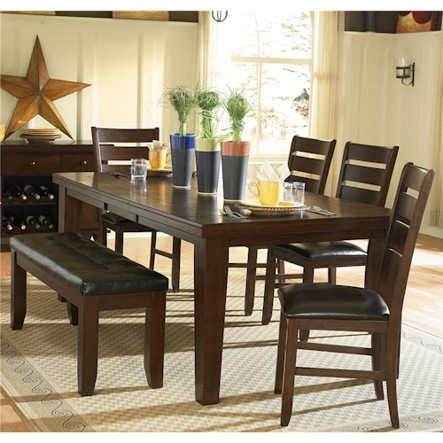 Homelegance Ameillia Six Piece Dining Set with Bench