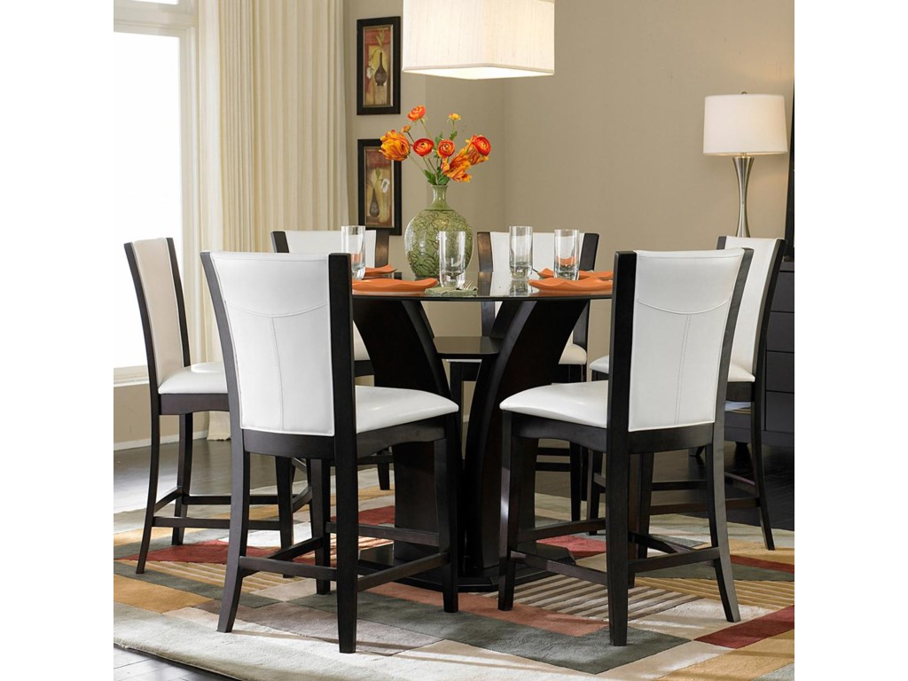 Homelegance 7107-Piece Counter Height Glass Top Dining Set