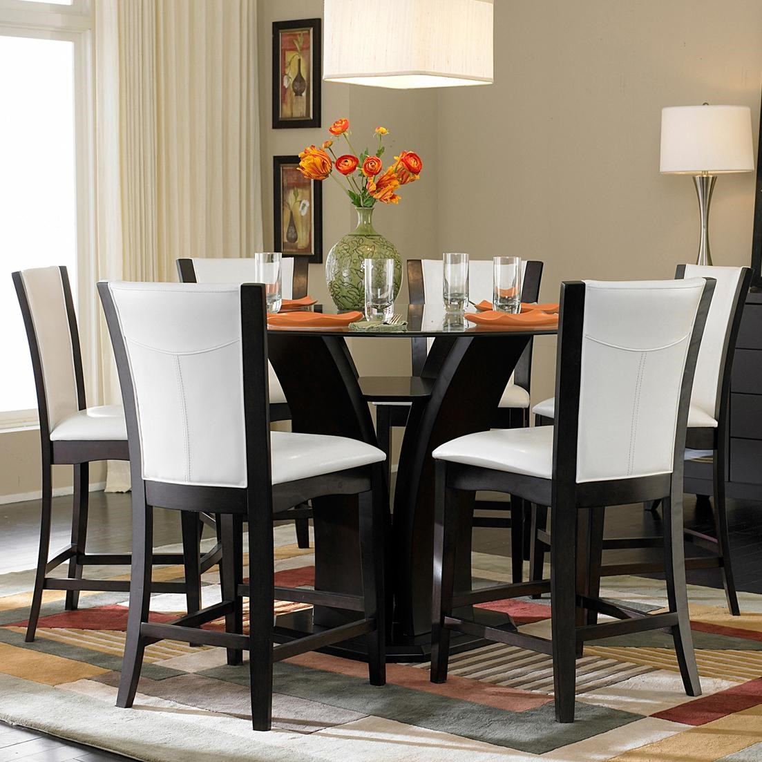 Homelegance 710 7 Piece Counter Height Glass Top Dining Set