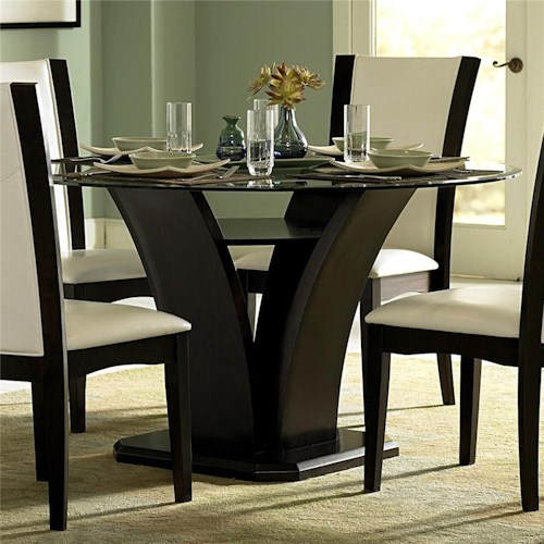 Homelegance 710 Round Glass Trestle Dining Table