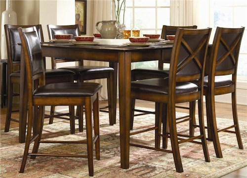 Homelegance Verona 7 Piece Counter Height Dining Set with X-Back Chairs