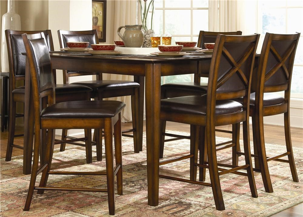 Homelegance Verona 7 Piece Counter Height Dining Set With X Back Chairs