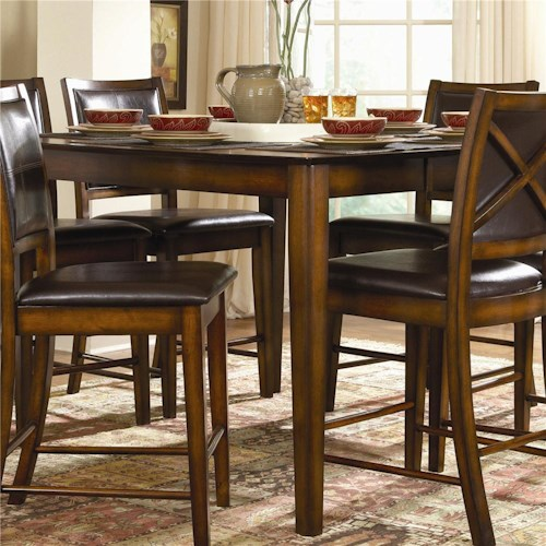 Homelegance Verona Chicago Pub Height Rectangular Table with 14 Inch Leaf