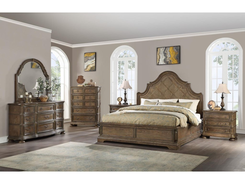Home Insights Bryce CanyonKing Panel Bed, Dresser, Mirror & Nightstand