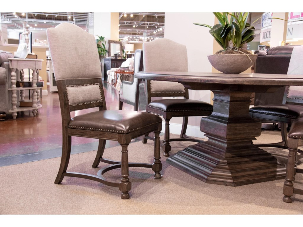 Home Insights Bryce CanyonPedestal Table & 4 Upholstered Side Chairs
