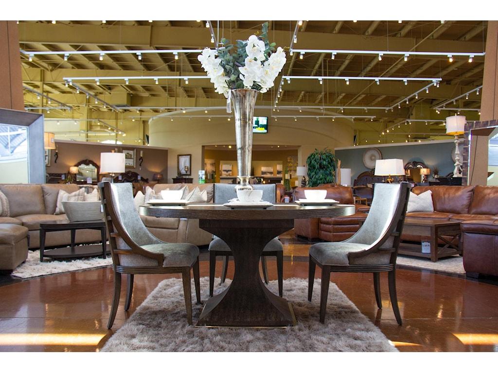 Home Insights SohoPedestal Dining Table & 4 Upholstered Dining