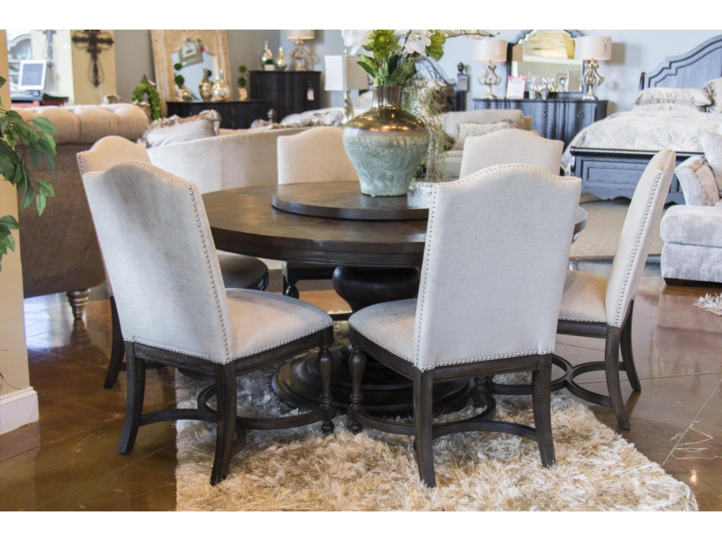Home Insights Venetian TableGrp Round Dining Table & 6 Upholstered ...
