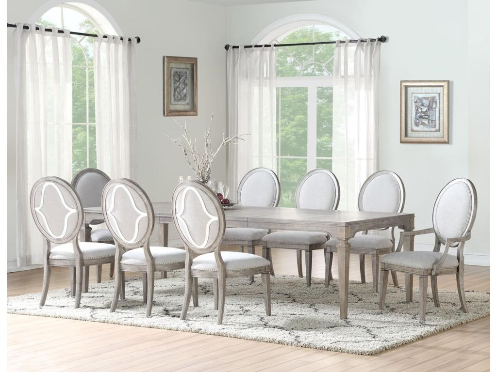 Home Insights ManhattanDining Table, 4 Side Chairs & 2 Arm Chairs