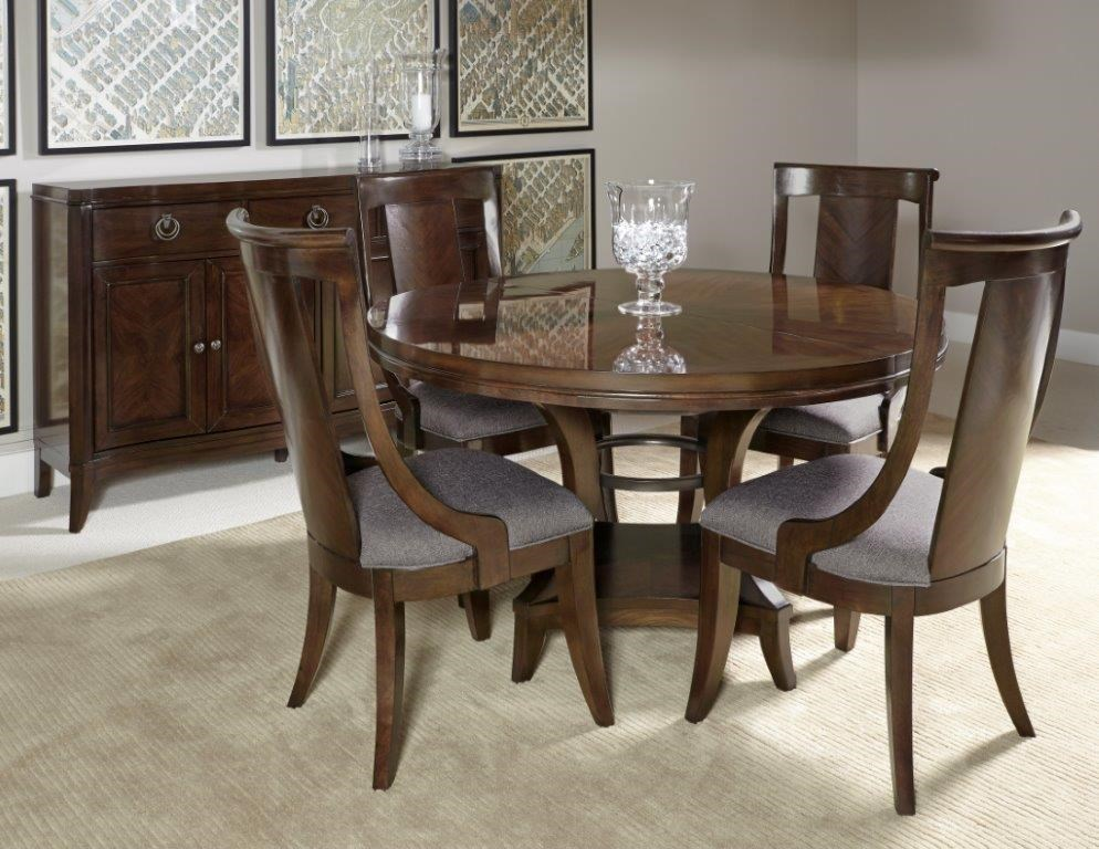 Home Insights Tribeca Dining Round Extension Pedestal Dining Table U0026 4 Side  Chairs   Great American Home Store   Dining 5 Piece Sets