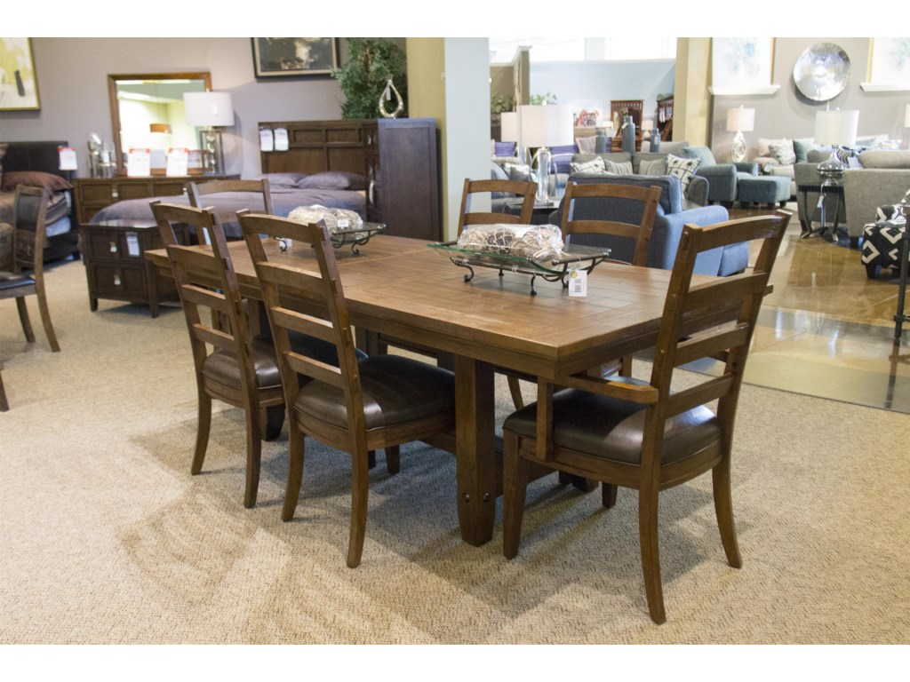 Home Insights Artisan House Trestle Dining Table 4 Side Chairs 2 Arm