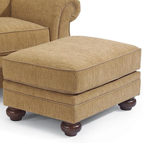 Flexsteel Winston Upholstered Ottoman with Bun Feet