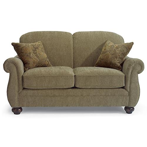 Flexsteel Winston Love Seat with Bun Feet
