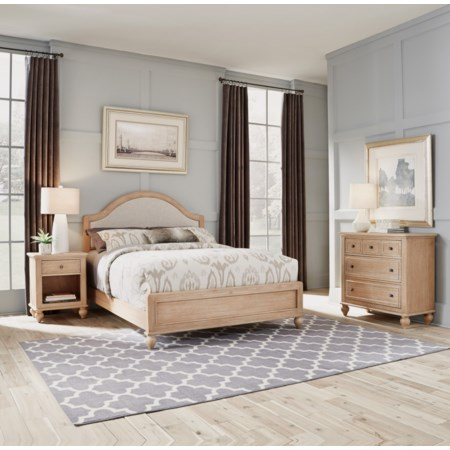 Queen Bed, Nightstand & Chest