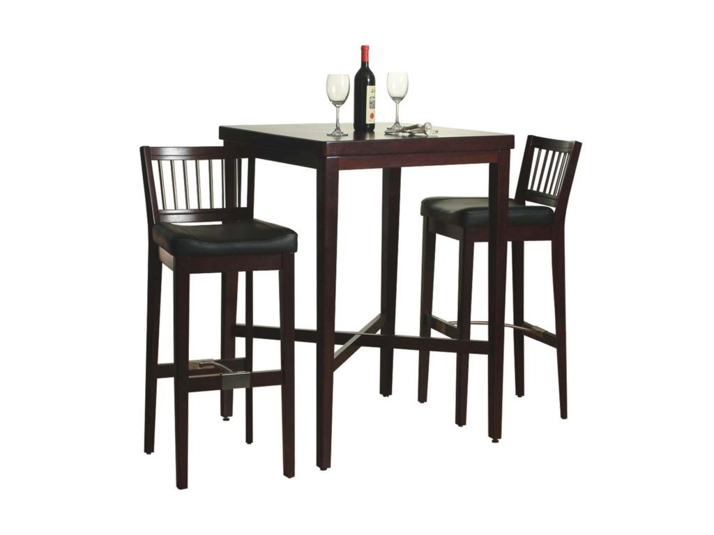 d1d727fc63c Dining 3-Piece Contemporary Cherry Pub Table   Bar Stool Set by Home Styles
