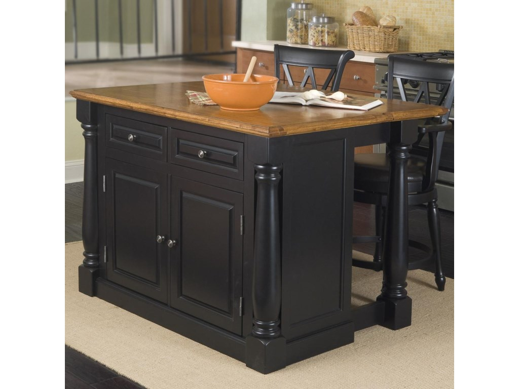 Home Styles Monarch Kitchen Island with Adjustable Wood Top ...