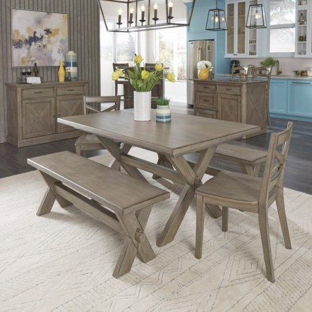 5-Piece Table and Chair Set with 2 Benches