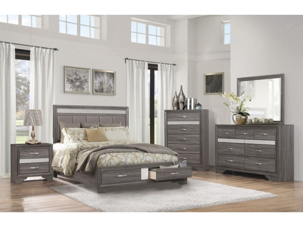 Homelegance LusterQueen Bed with Storage Footboard
