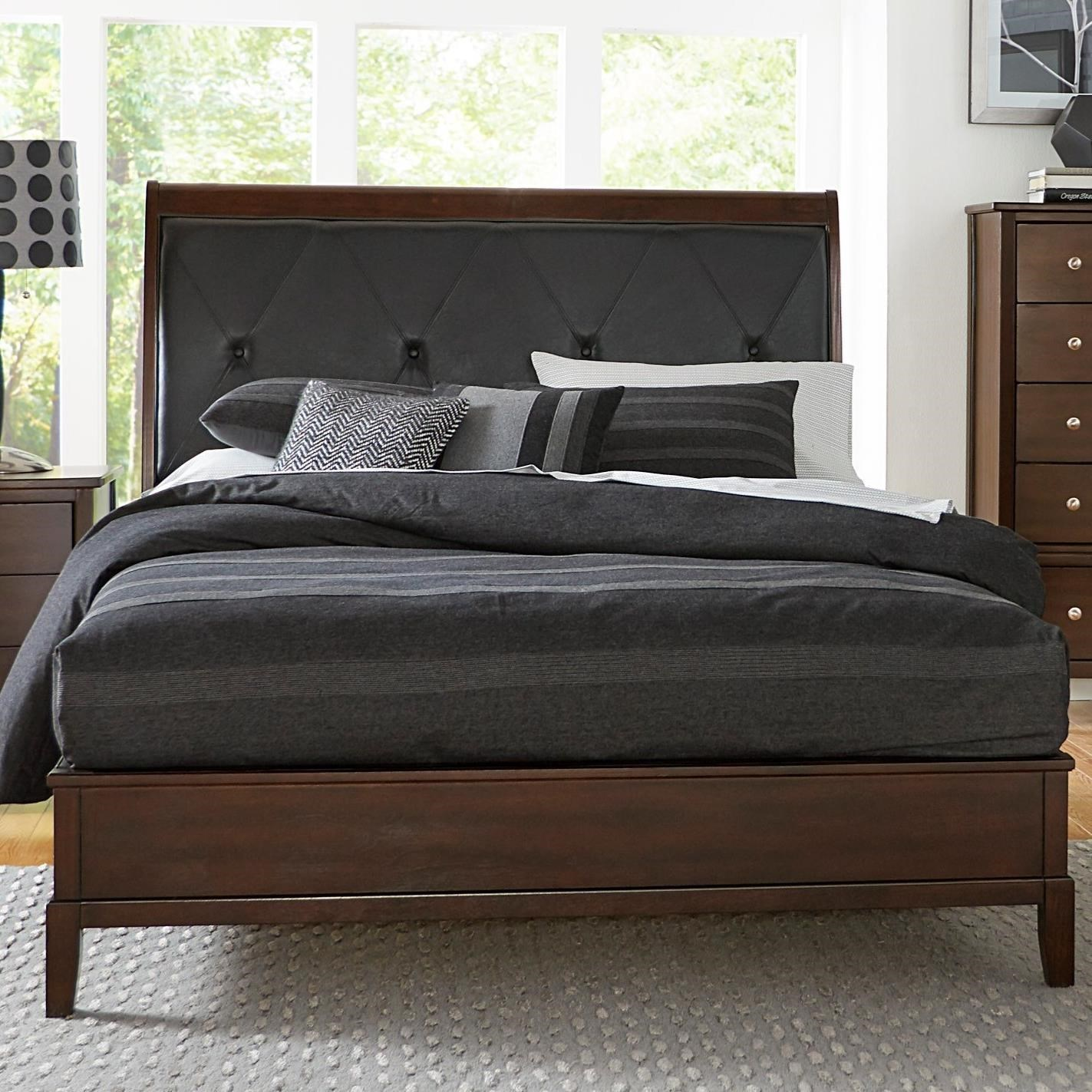 Contemporary Queen bed with Diamond Tufted Upholstered Headboard