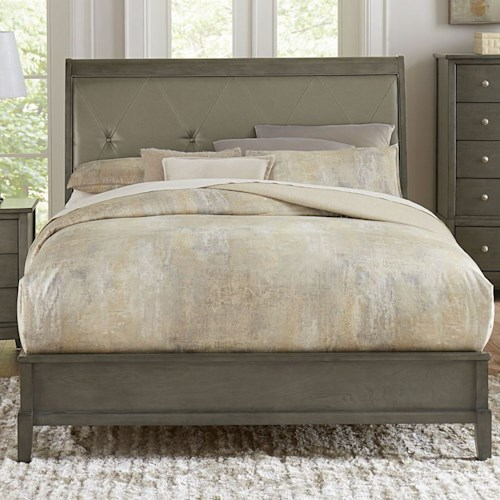 Homelegance Cotterill Contemporary Queen bed with Diamond Tufted Upholstered Headboard