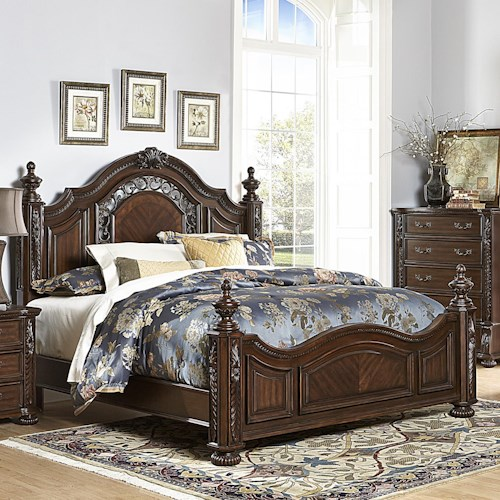 Homelegance Augustine Court Traditional Queen Bed with Extravagant Details