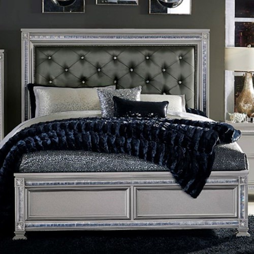 Homelegance 1958 Glam Queen Headboard and Footboard Bed with Intricate Inlays