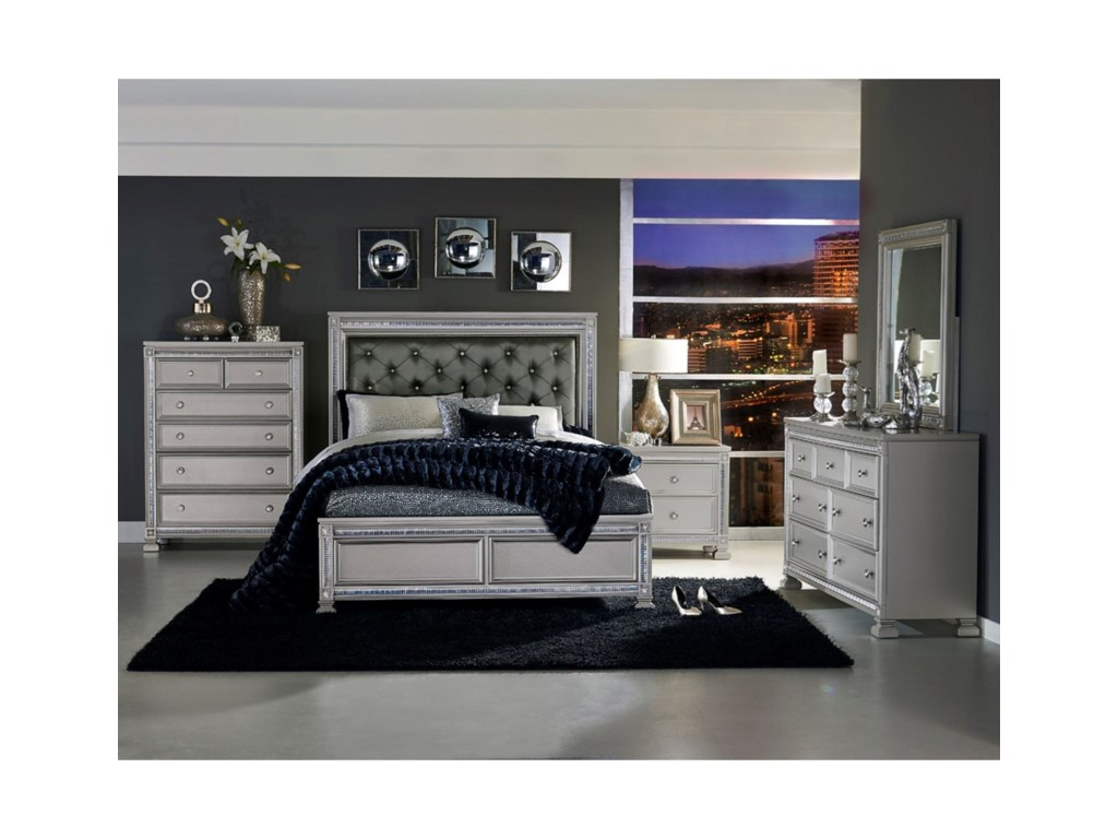 Elegance 1958Glam Queen Headboard and Footboard Bed
