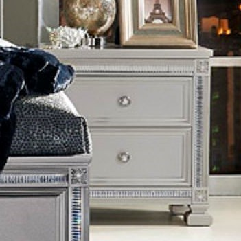 Homelegance 1958 Glam Nightstand with 2 Drawers and Intricate Inlay