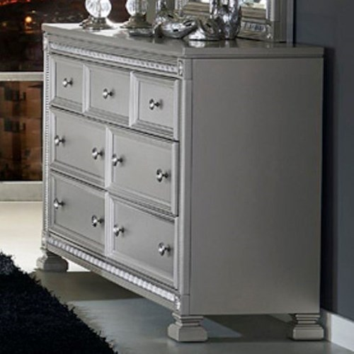 Homelegance 1958 Glam 7 Drawer Dresser with Intricate Inlay