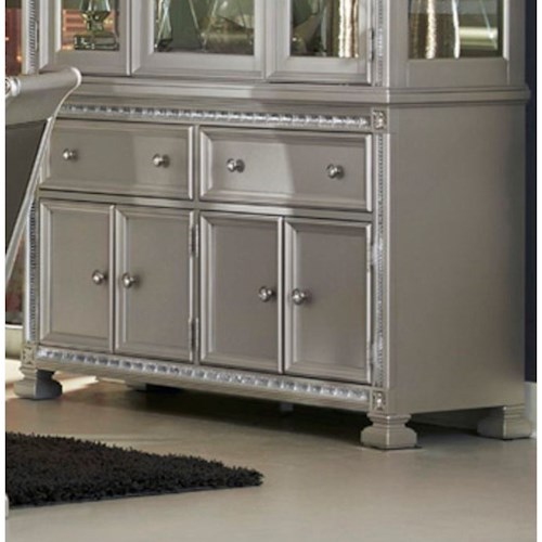 Homelegance 1958 Glam Dining Buffet with 4 Doors and 2 Drawers