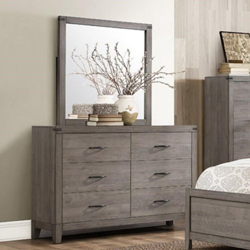 Homelegance (Clackamas Only) 2042 Contemporary 6-Drawer Dresser and Mirror