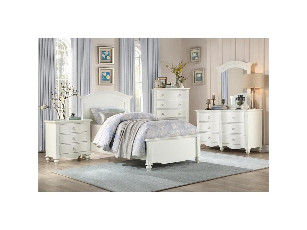 Homelegance Furniture 2058WHTwin Bedroom Group