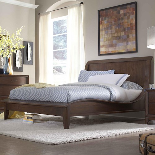 Homelegance 2135 Queen Low Profile Sleigh Bed with Waved Sides & Tapered Feet