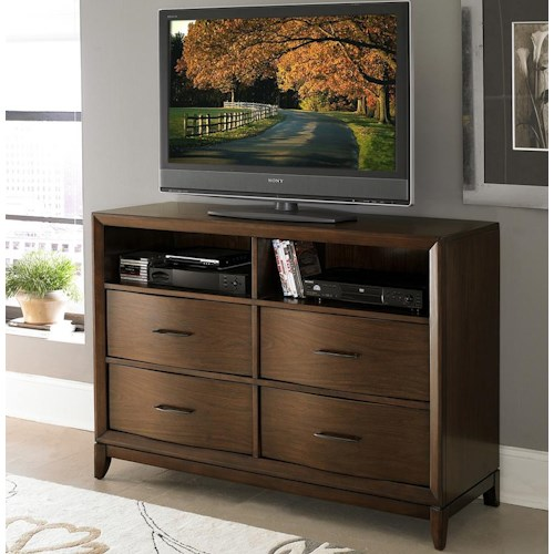 Homelegance 2135 TV Chest with 2 Open Compartments & Waved Front Profile