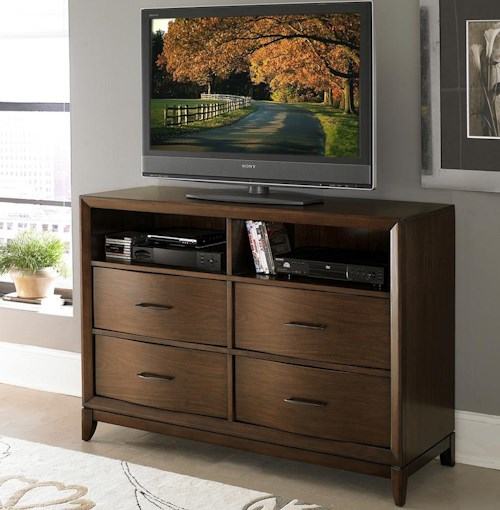 Homelegance (Clackamas Only) 2135 TV Chest with 2 Open Compartments & Waved Front Profile