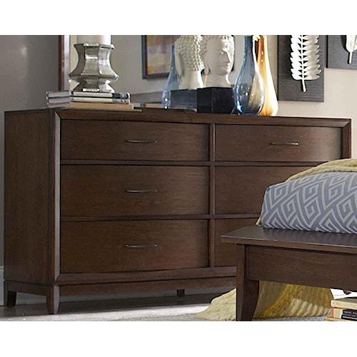 Homelegance 2135 6-Drawer Dresser with Metal Hardware & Waved Front Profile