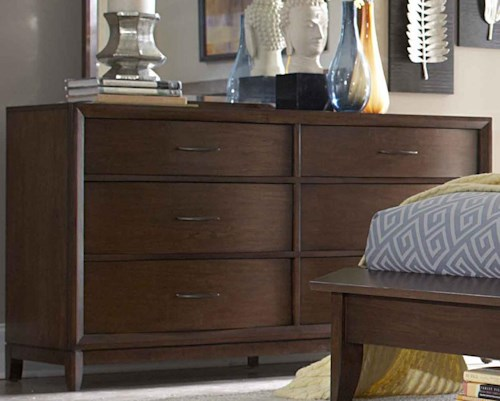 Homelegance (Clackamas Only) 2135 6-Drawer Dresser with Metal Hardware & Waved Front Profile