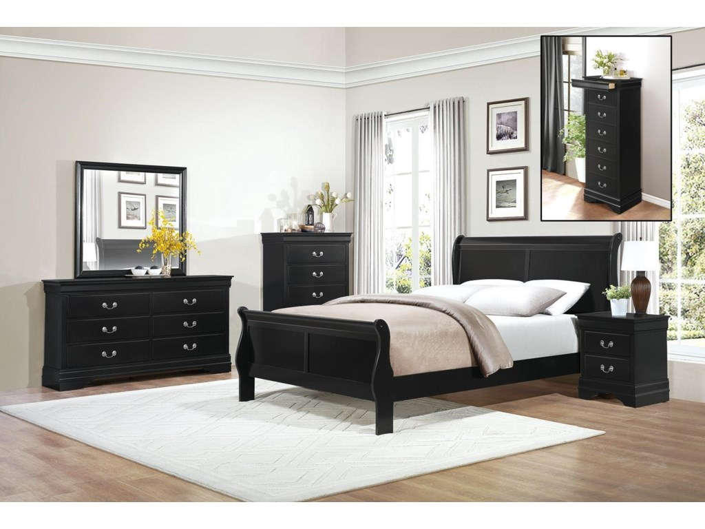 Homelegance MayvilleFull Black Bedroom Group